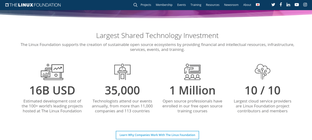 The Linux Foundation frontpage
