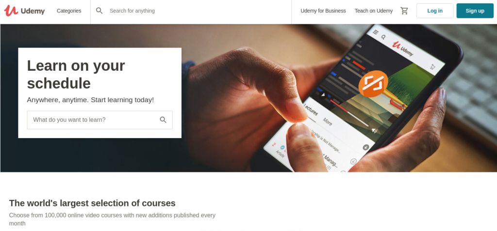 Udemy frontpage