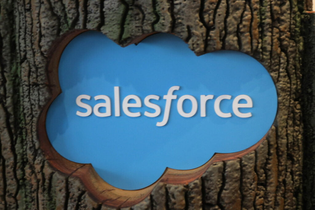 Salesforce logo on a tree